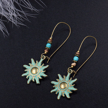 Buykud - Retro Green Sun Alloy Earrings