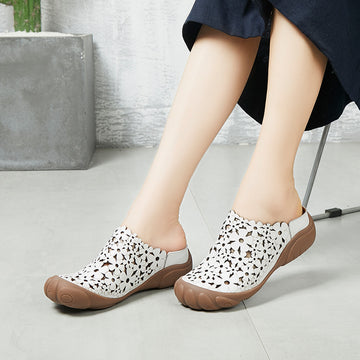 Buykud - Retro Hollow Out Floral Round Toe Sandals
