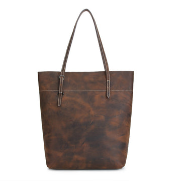 Buykud - Retro Pure Color Simple Leather Tote Bag
