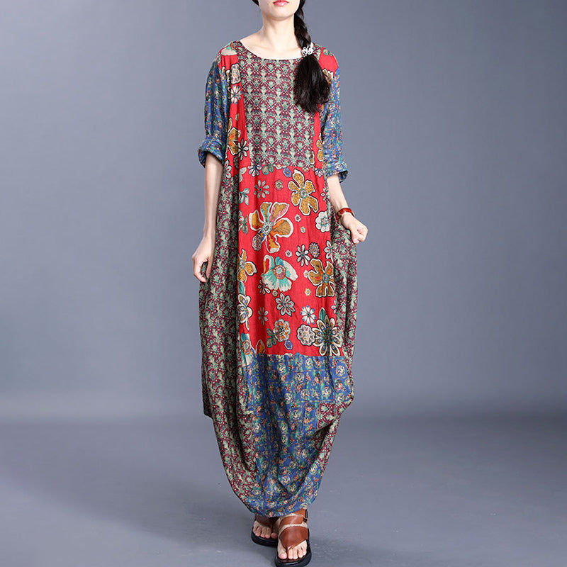 PLUS Size - Handmade Splicing Prints 100% Linen Dress