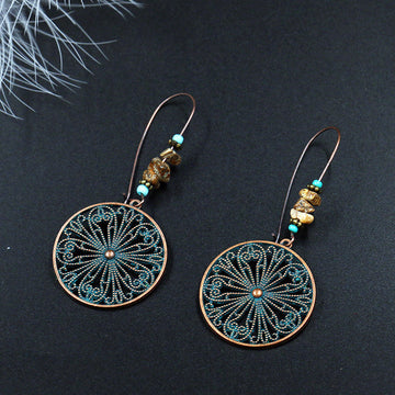 Buykud - Round Hollow-out Alloy Earrings