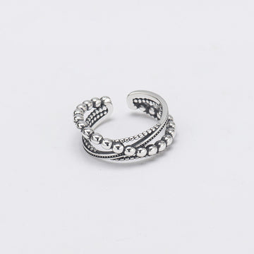 Buykud - Simple Silver Multi-layer Bead Ring