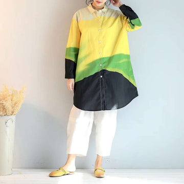 Buykud Casual Color Matching Cotton Long Shirt