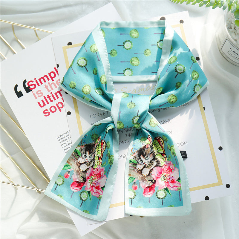 Buykud Ins Printed Small Square Scarf