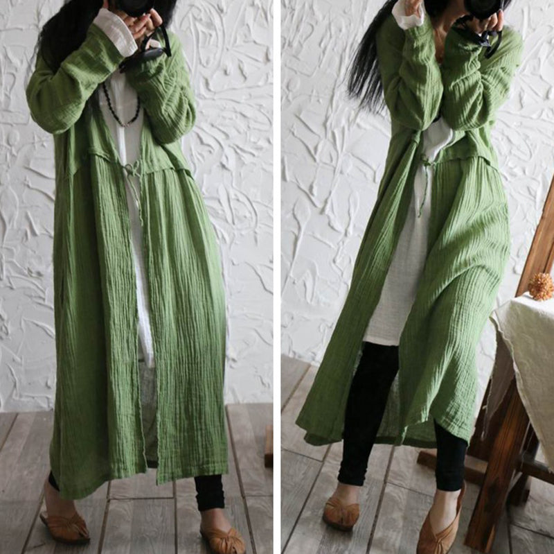 Buykud Pure Color Lace-up Linen Sunscreen Thin Coat