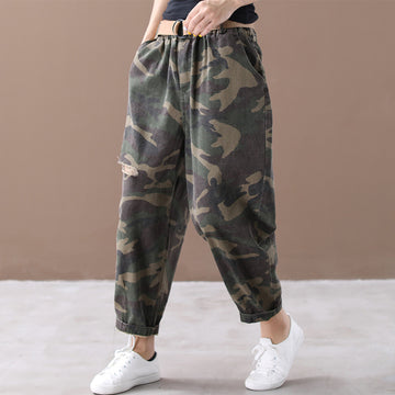 Buykud Camouflage Pattern Hole Casual Loose Pants With Belt