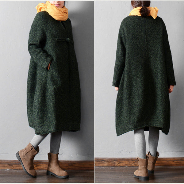 Female winter warm wool coat - Buykud