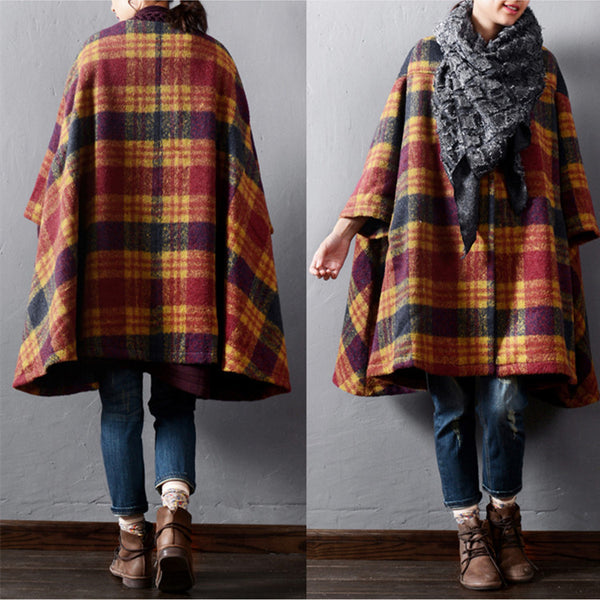 Female winter warm woolen cape coat - Buykud