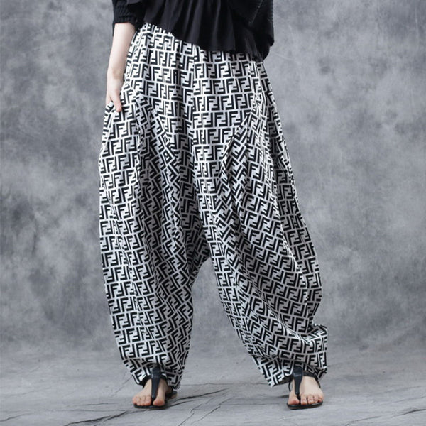 Letter F Vintage Loose Cross Pants