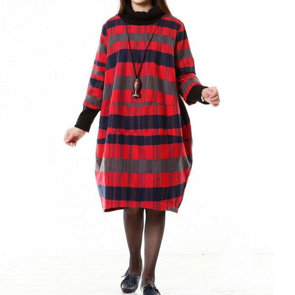 Women Wool Dress Loose Dress Autumn Dress 3/4 Sleeve Dress Large Size Dress - Buykud