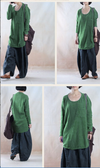 Round Neck Long Sleeves Retro Autumn Winter Green Casual Women Shirt - Buykud