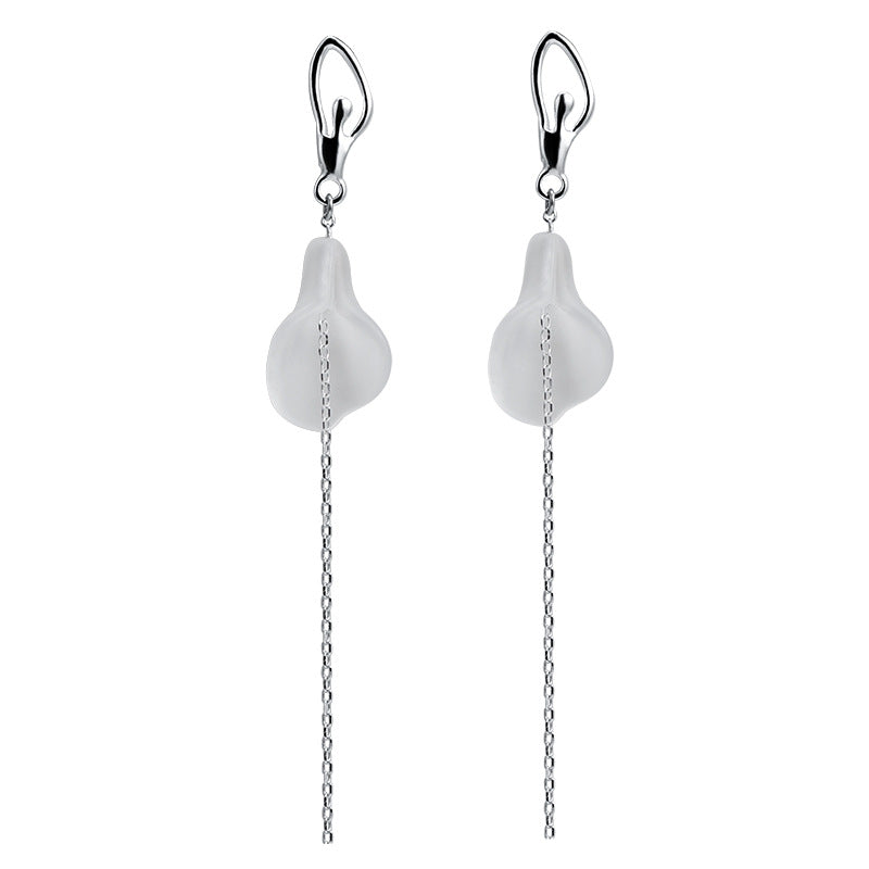 Calla Lily Crystal Silver Dangle Earrings