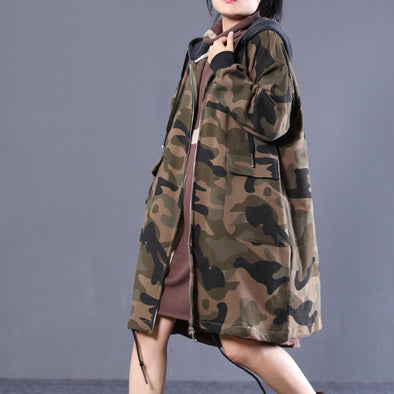 Camouflage Autumn Cotton Hooded Female Loose Coat