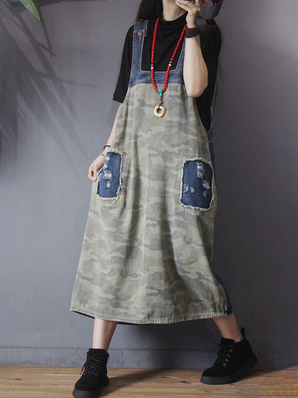 Camouflage Patchwork Frayed Loose Suspender Dress