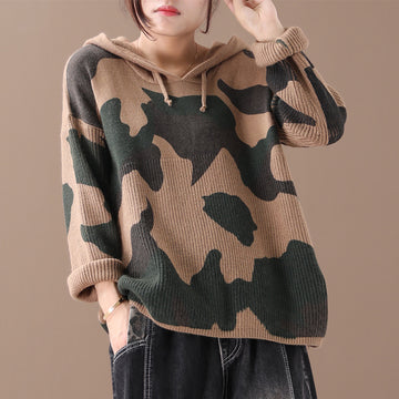 Camouflage Printed Spliced Loose Hooded Sweater