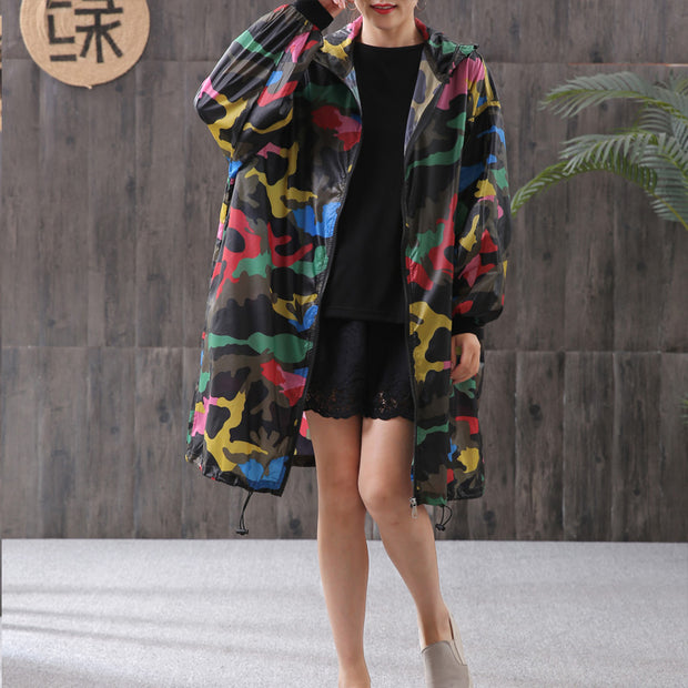 Camouflage Printed Sun Resistant Hooded Coat