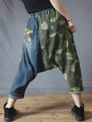 Camouflage Spliced Loose Personality Denim Pants