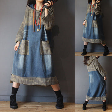 Camouflage Stitching Denim Hooded Dress