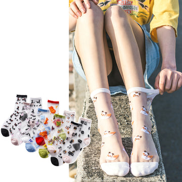 Cartoon Animal Transparent Women Crew Socks (5 pairs)