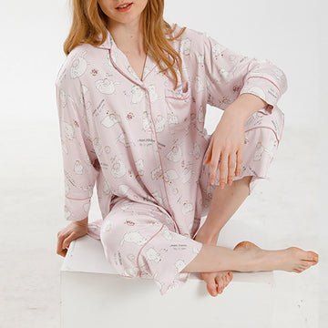 Cartoon Cat Print Pink Pajamas