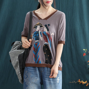 Cartoon Character Printed V-neck Summer Cotton Knitted T-shirt