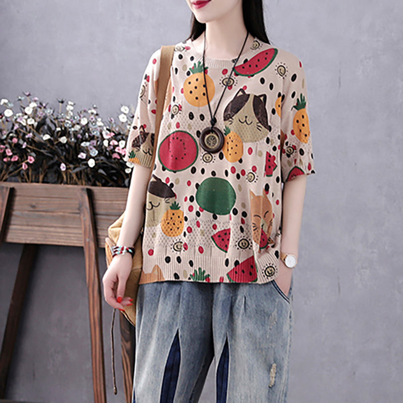 Cartoon Fruit Cat Print Half Sleeve Cotton Knitted Shirt