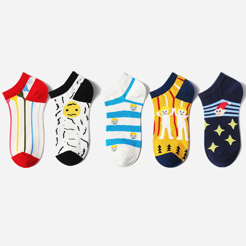 Cartoon Jacquard Cotton Summer Women Socks (3 pairs)