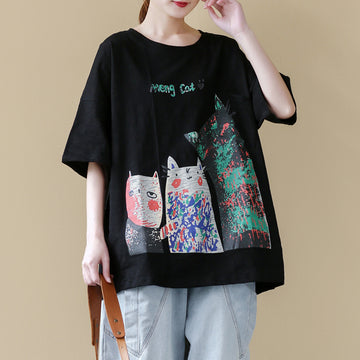 Cartoon Print Casual Loose O-neck Cotton T-shirt