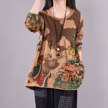 Cartoon Animal Round Neck Knitted Shirt