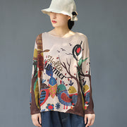 Cartoon Birds Printed Pullover Autumn Thin Knitted Shirt