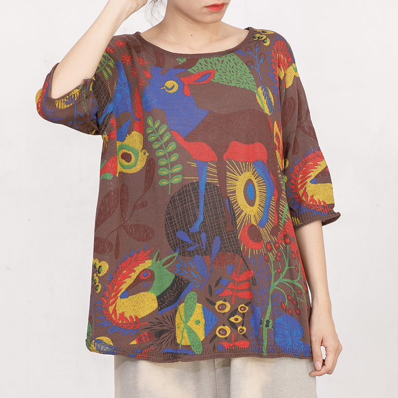 Cartoon Deer Casual Loose Knitting Shirt