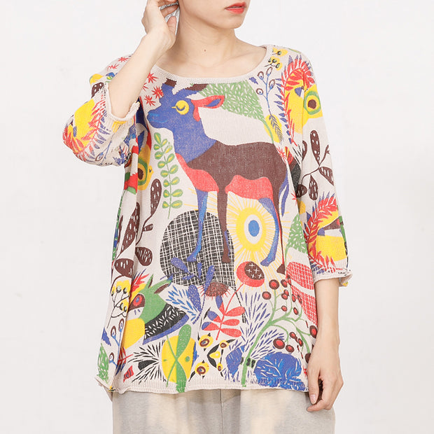 Cartoon Deer Casual Loose Knitting Blouse