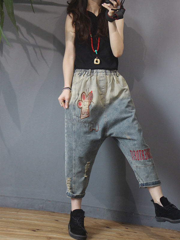 Cartoon Embroidery Frayed Casual Harem Jeans