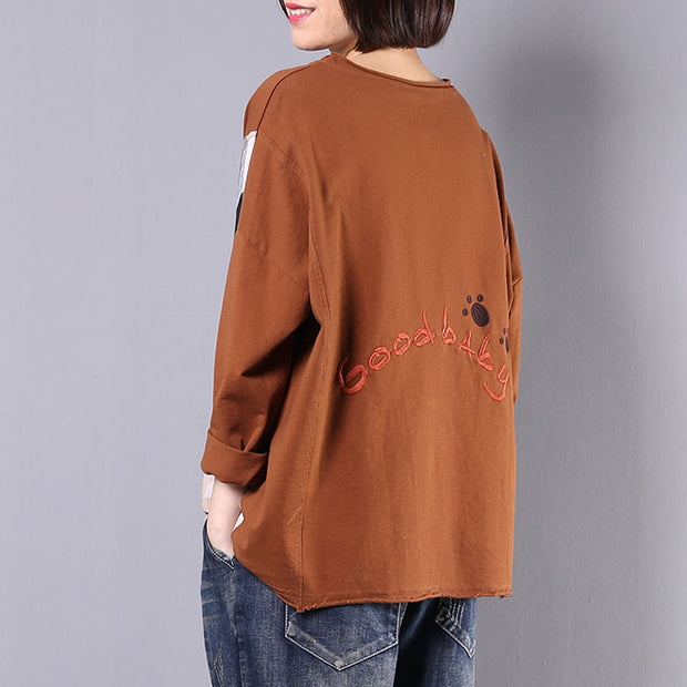 Cartoon Embroidery Patchwork Cute Loose Sweatshirt