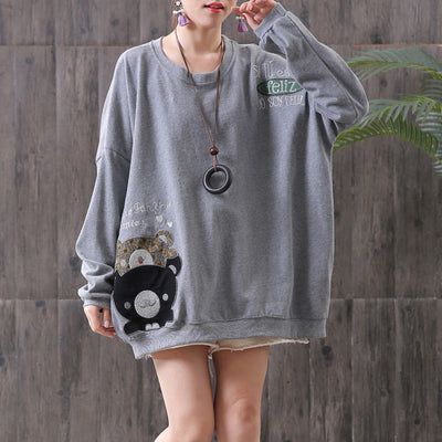 Cartoon Long Sleeve Round Neck Blouse