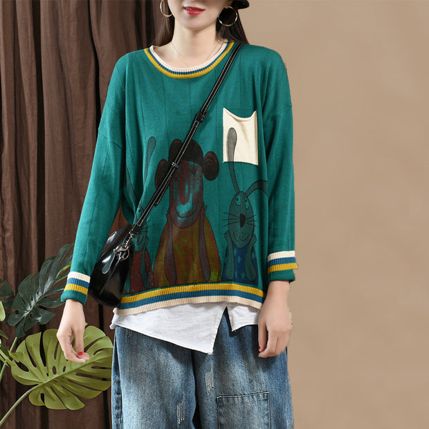 Cartoon Print Pullover Casual Wild Knitwear