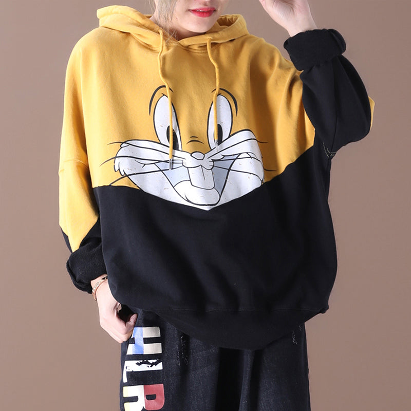 Cartoon Rabbit Splicing Loose Hoodie