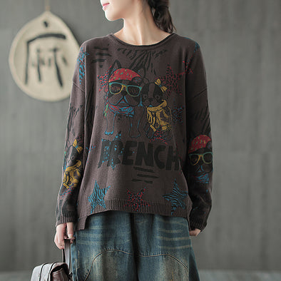 Cartoon Dogs Women Knitting Casual Cotton Sweater