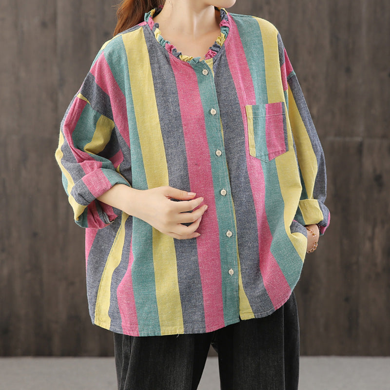 Casual Color Matching Striped Cotton Linen Shirt