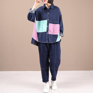 Casual Denim Cotton Color Contrast Two Pieces Suit