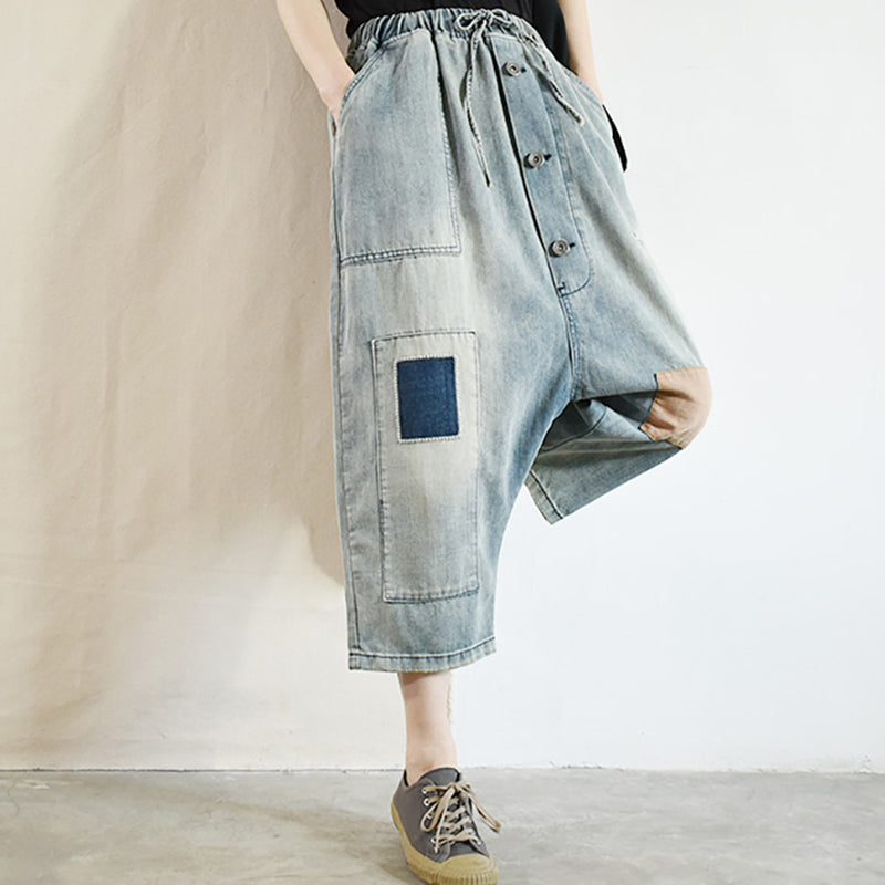 Casual Elastic Waist Patchwork Distressed Jeans