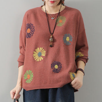Casual Floral Embroidered Sweater Jumper