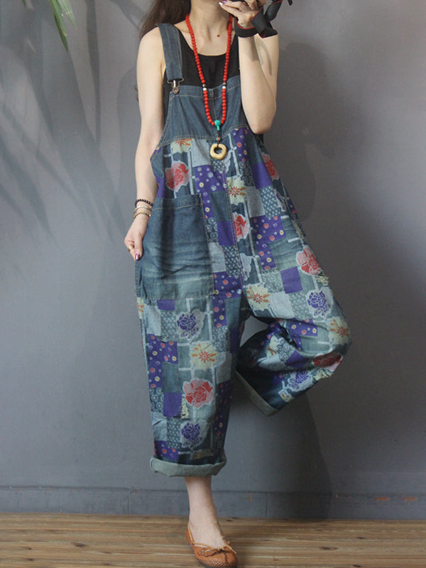 Casual Floral Printed Hole Denim Jumpsuit