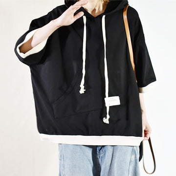 Casual Irregular Kangaroo Pocket Hooded T-shirt