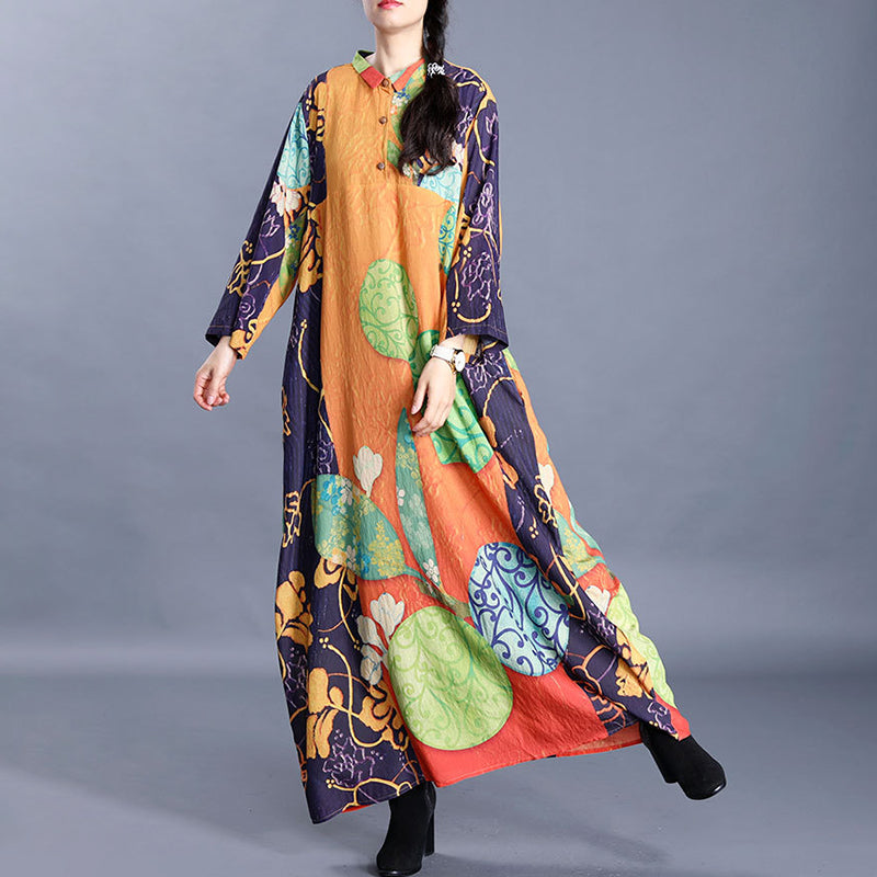 Casual Leaf Floral Printed Spring Loose Dress