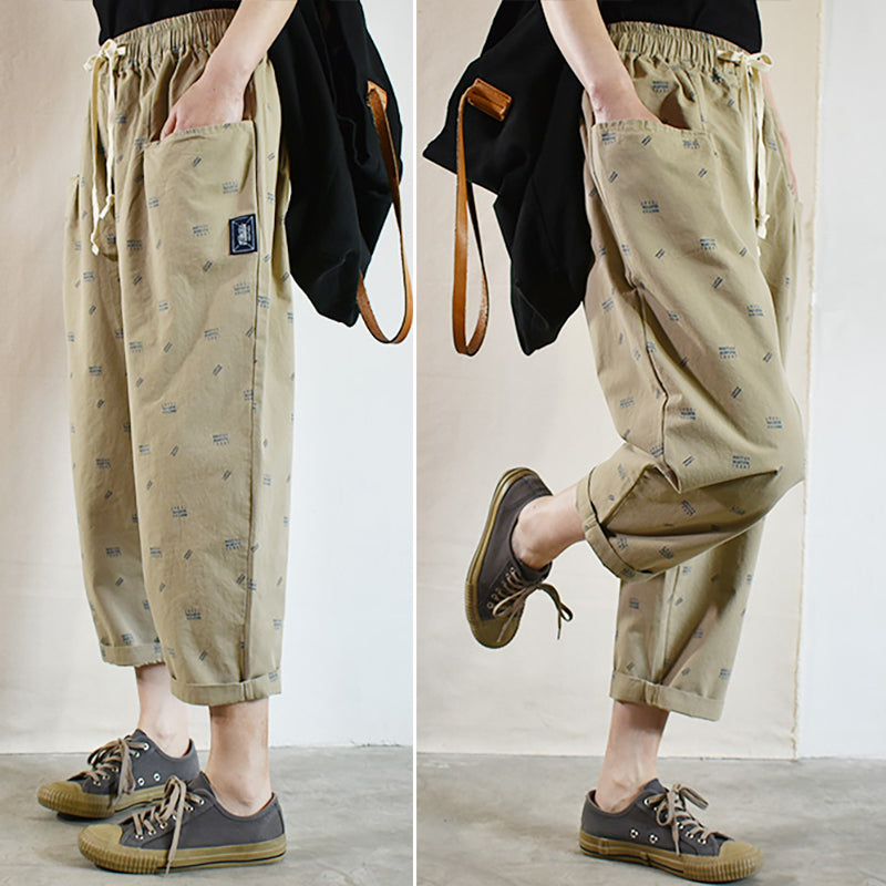 Casual Letter Print Cotton Spring Harem Pants