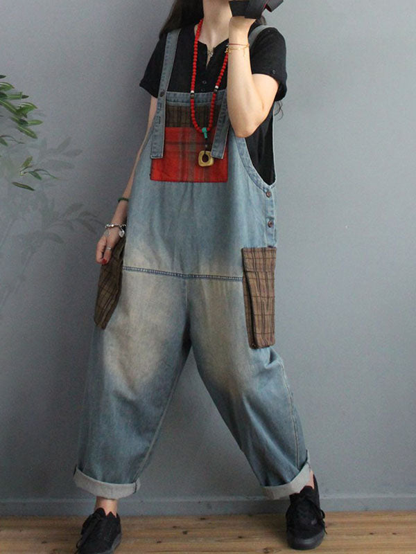 Casual Loose Plaid Patchwork Distressed Jumpsuit