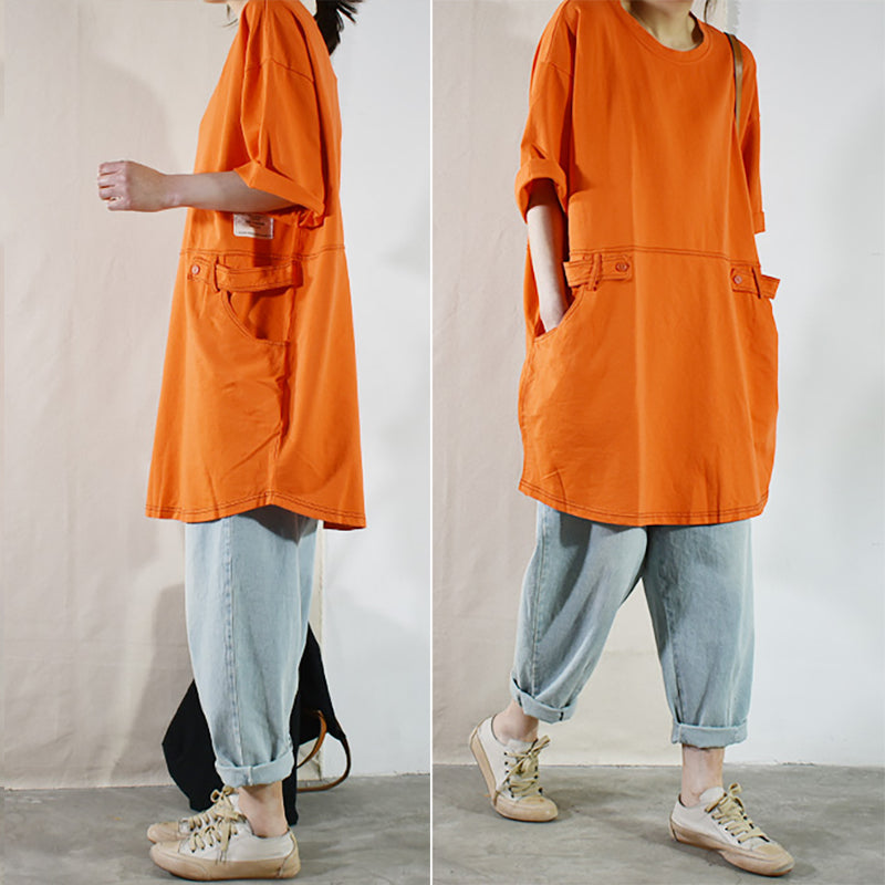 Plus Size - Casual Loose Solid 100% Cotton Long T-shirt