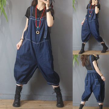 Casual Loose Solid Color Cotton Jumpsuit