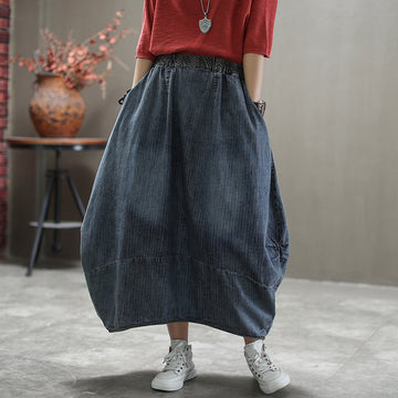 Casual Loose Striped Elastic Waist Denim Skirt